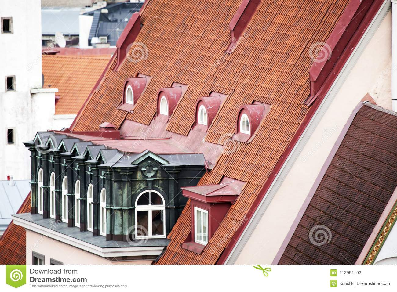 Red tile roof of the medieval building. Tallinn