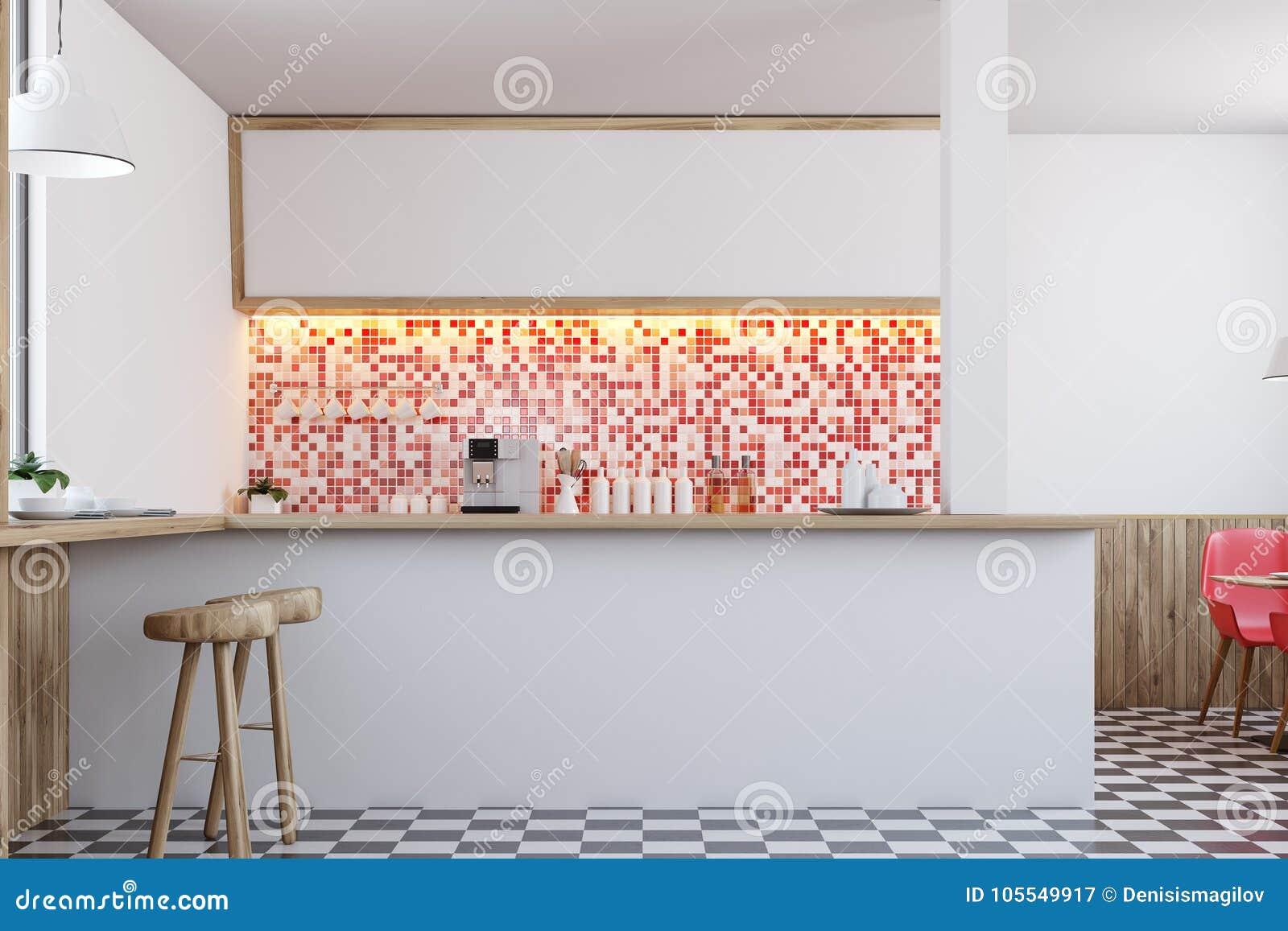 Red Tiles Bar Interior Close Up Stock Illustration - Illustration of ...