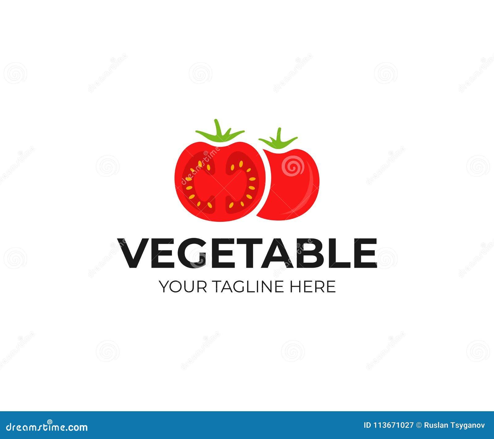 red tomato logo template fresh vegetables vector design stock