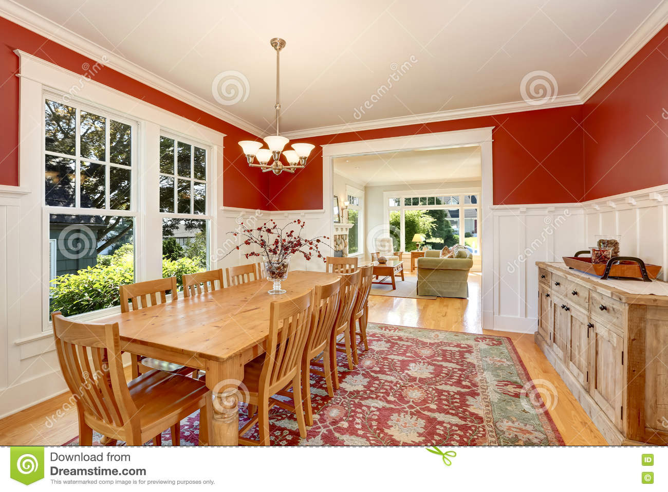 Red tones interior of american classic dining room stock for American classic interior