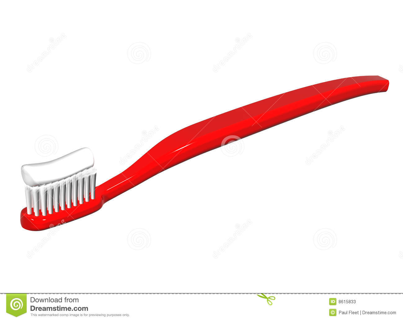 Isolated illustration of a shiny red toothbrush with toothpaste on it.
