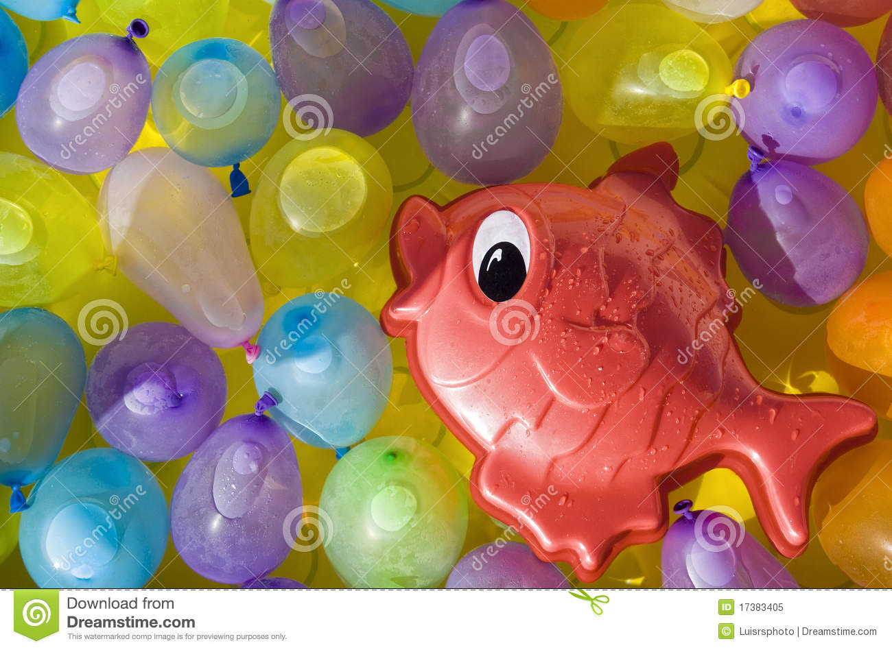 Red Toy Fish Between Colored Ballons Stock Image - Image of humid ...
