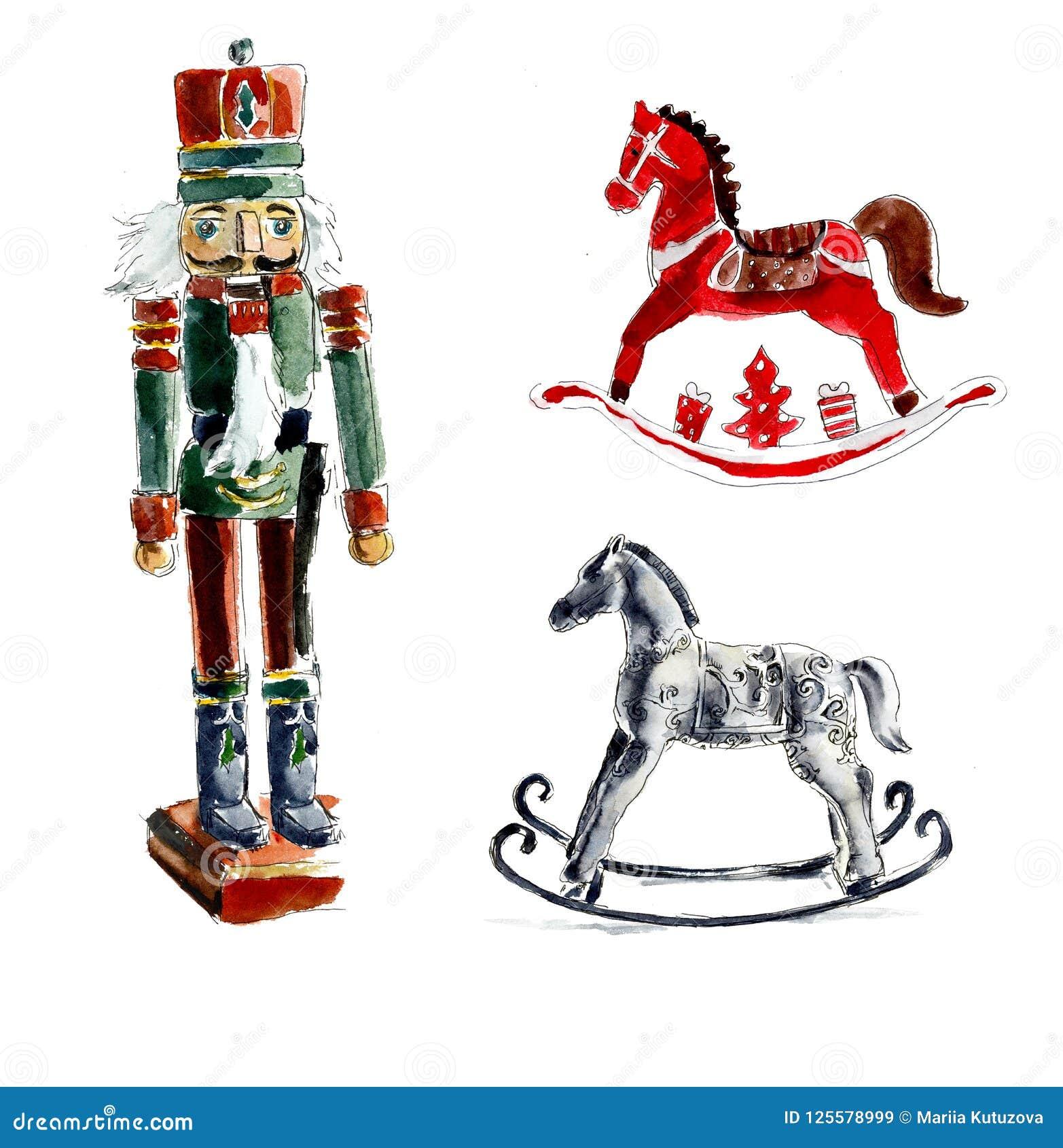 Christmas Horse Drawing.Christmas Toys Nutcracker Horses Watercolor Hand Drawing