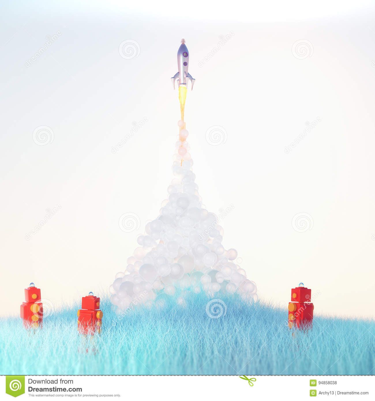 Red toy robots watch cute vintage rocket launch with soft fluffy smoke on light blue background on blue grass 3d render
