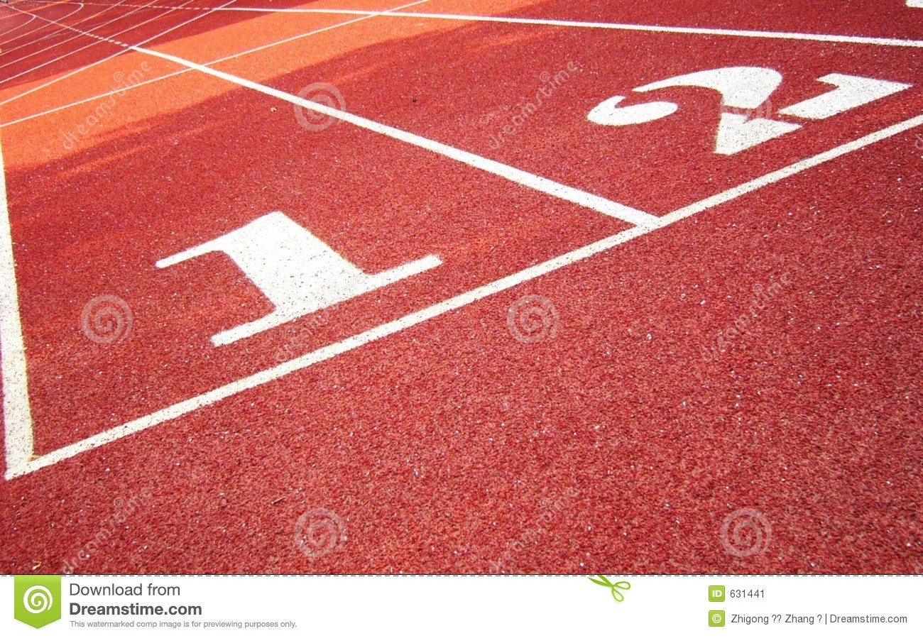 Red track with white figure numbers