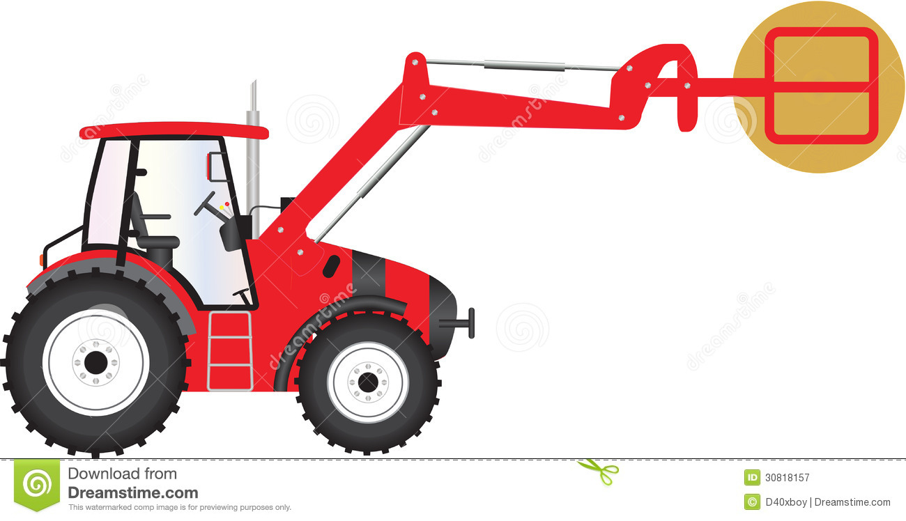 Hay Farmer Tractor Cartoon : Red tractor royalty free stock photography image