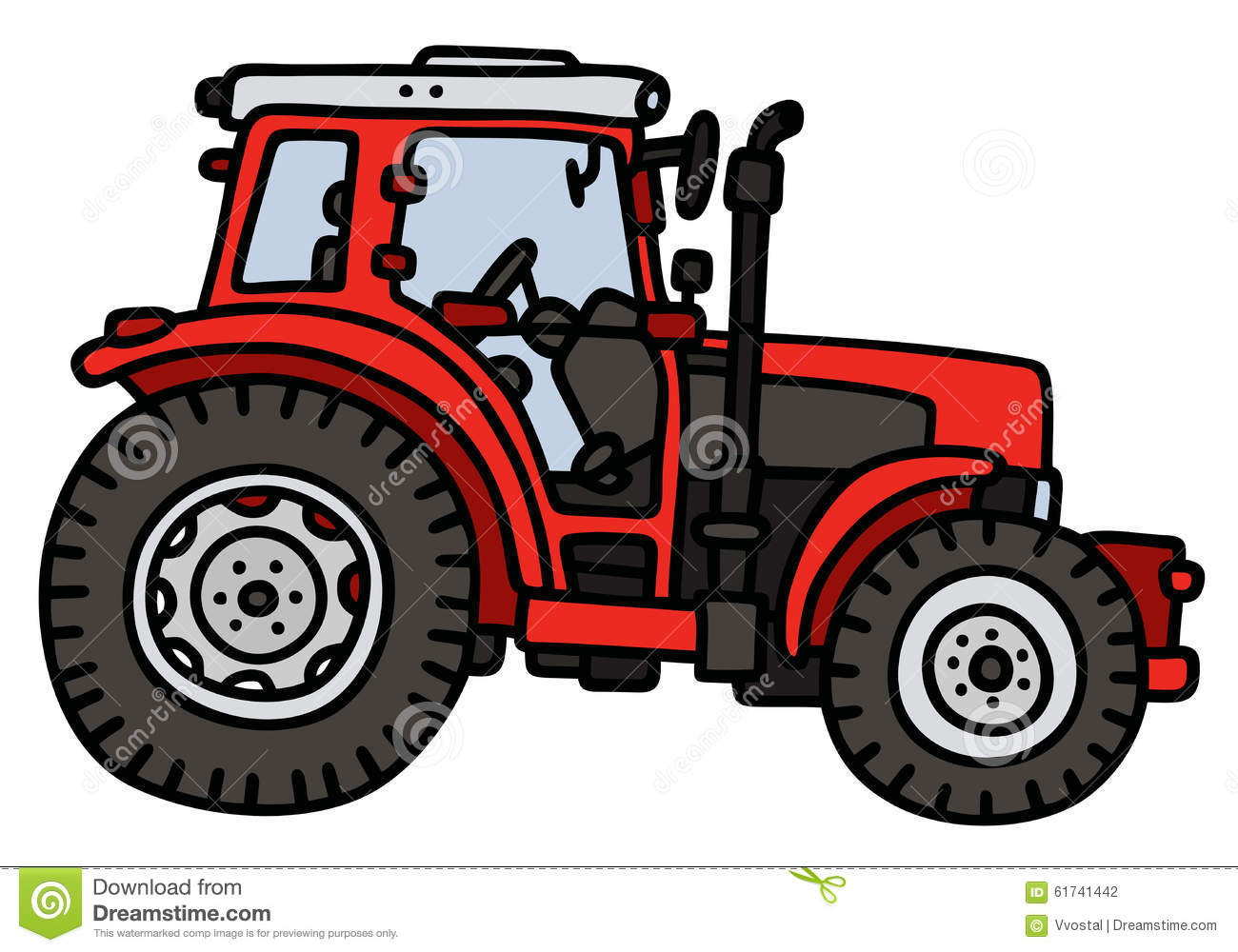 Hand drawing of a red tractor - not a real model.
