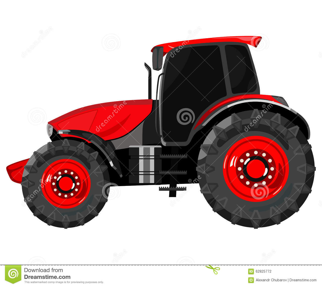 Side Picture Of Tractor : Red tractor side stock vector image of equipment