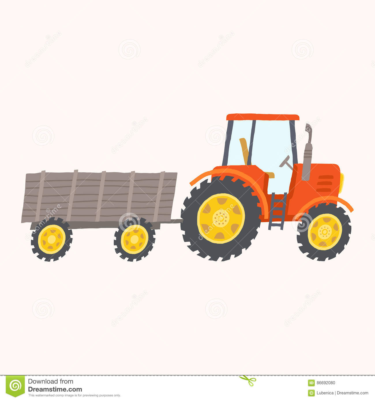 Up The Tractor Green Tractor With Bucket Cartoon : Red tractor with trailer toy stock vector