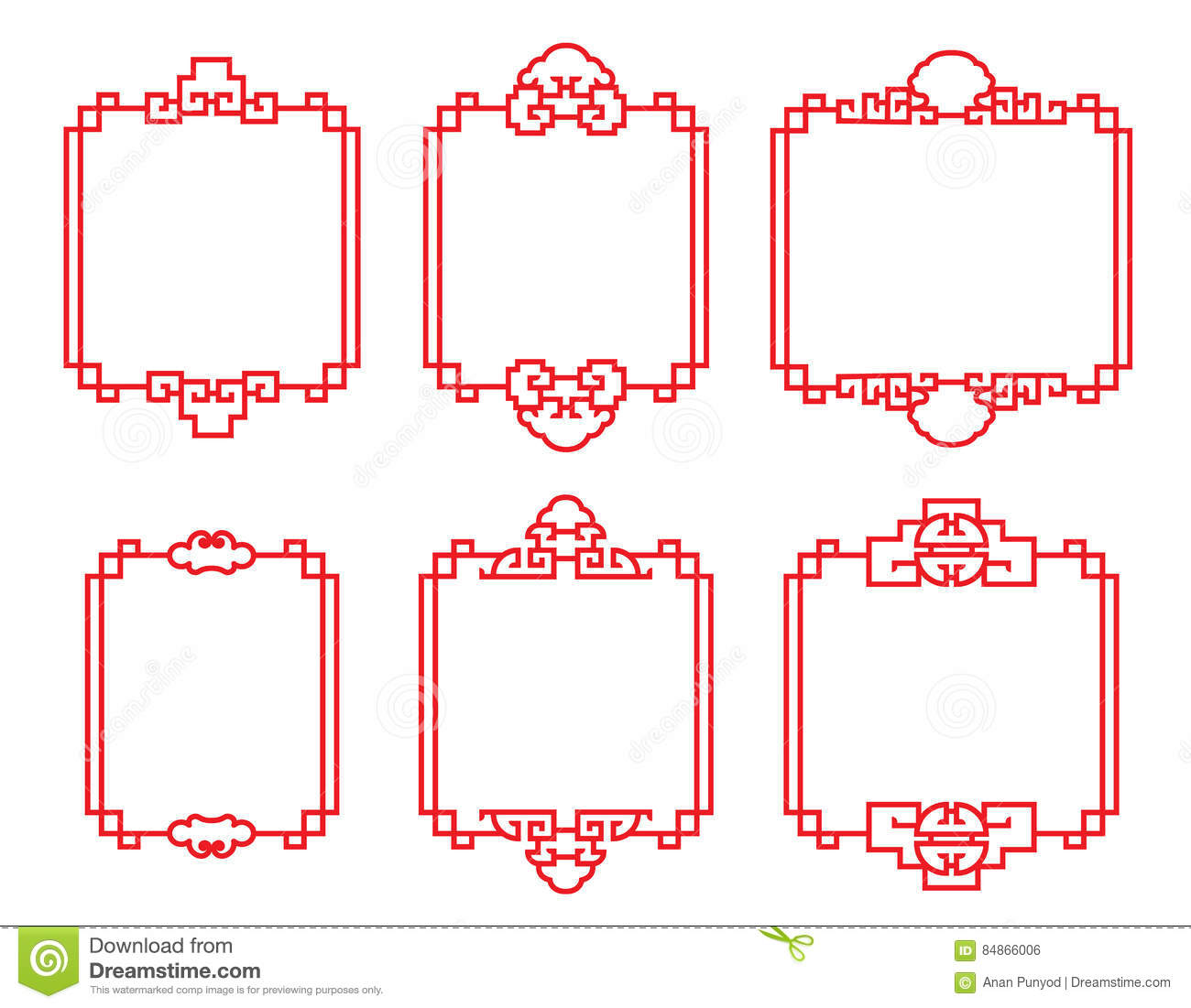 Red traditional Chinese frame vector art set design