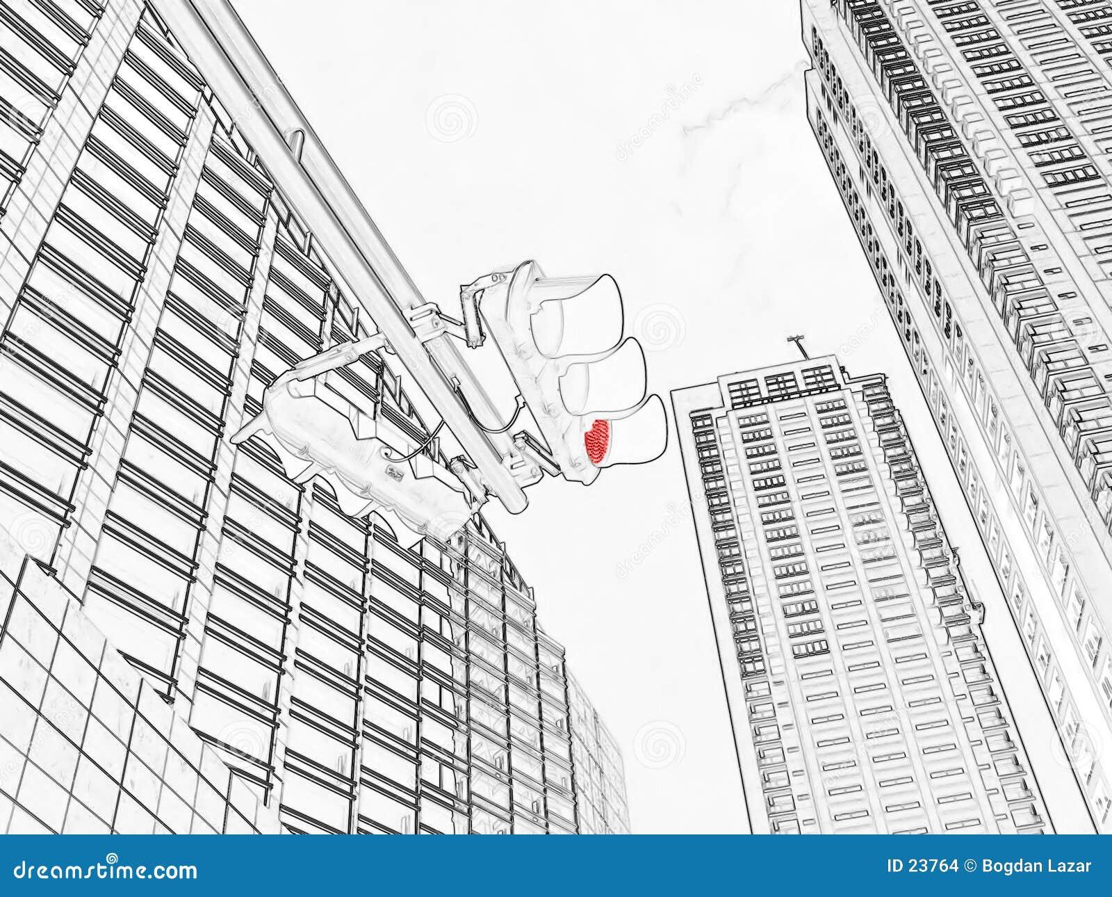 Red Traffic Light - Drawing Stock Illustration - Illustration of ...