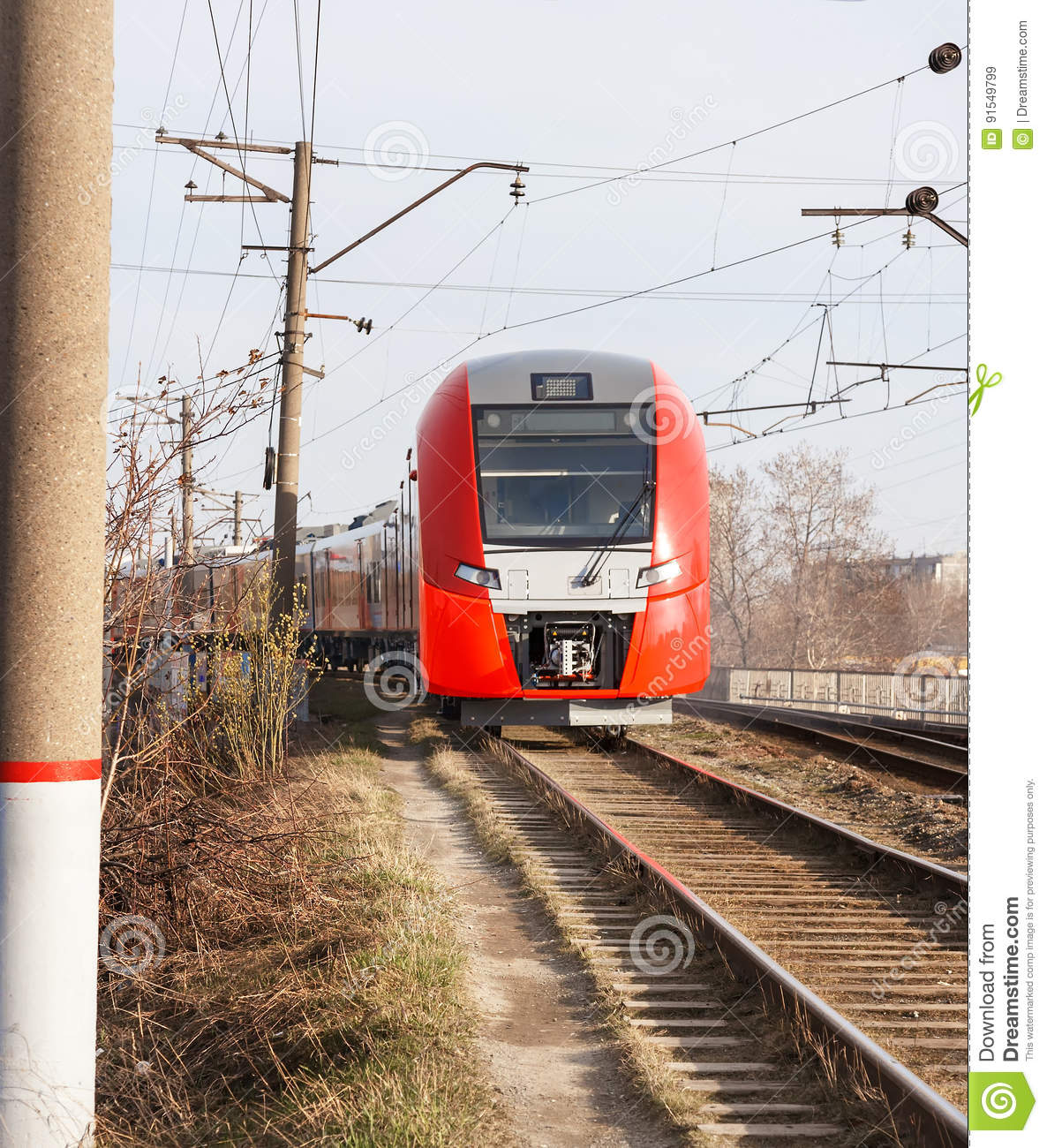 Red Train Stock Image Image Of Commuter Track Metro