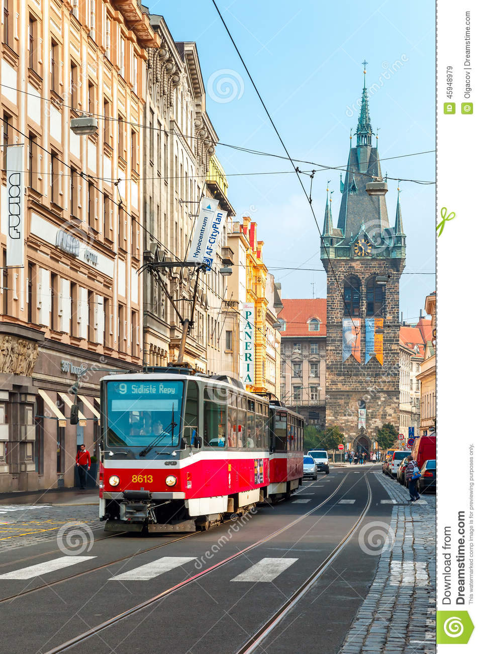 Red tram near jindrisska tower in prague czech editorial for Where is prague near