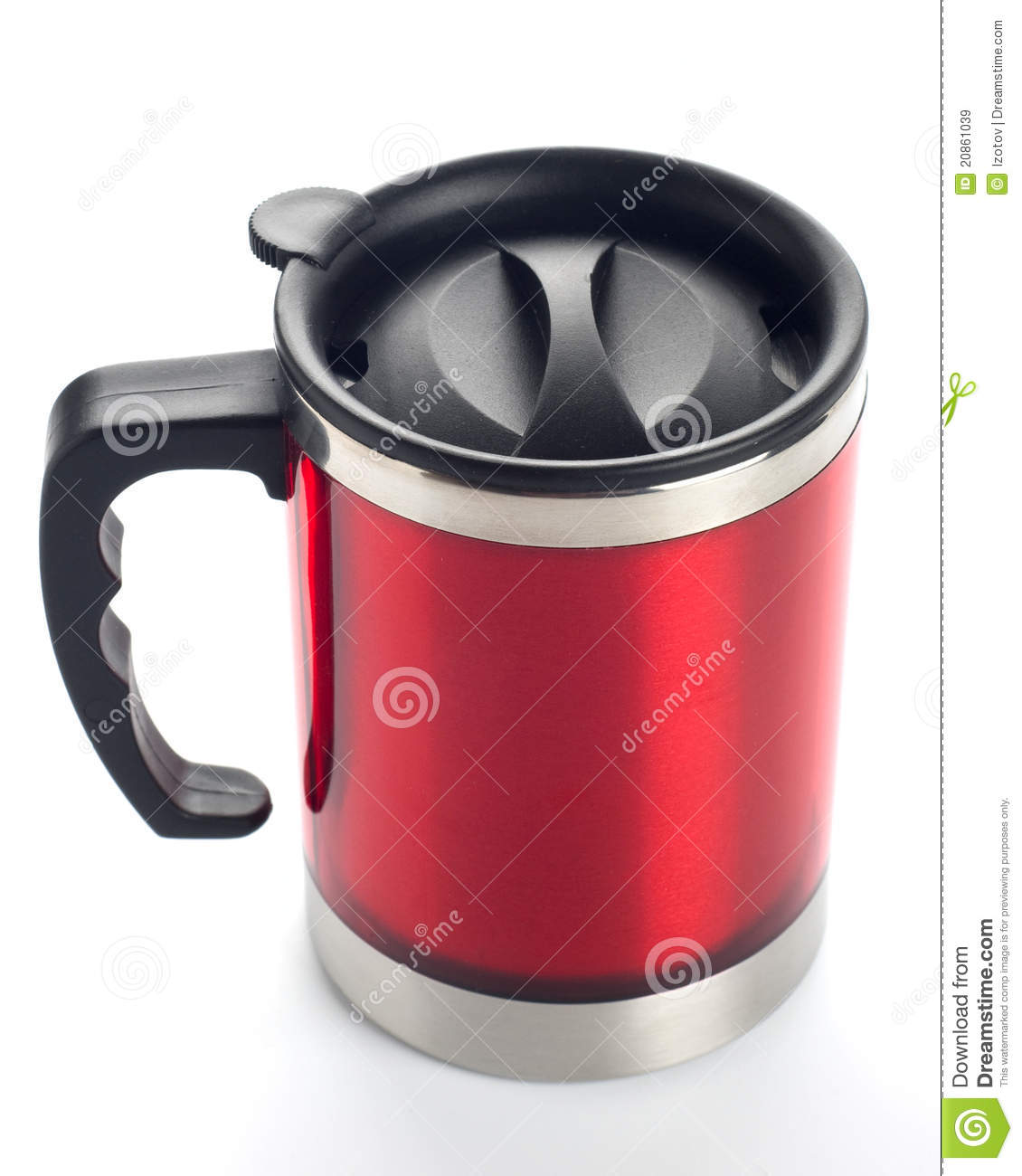 Red travel mug stock image. Image of object, heat, silver ...