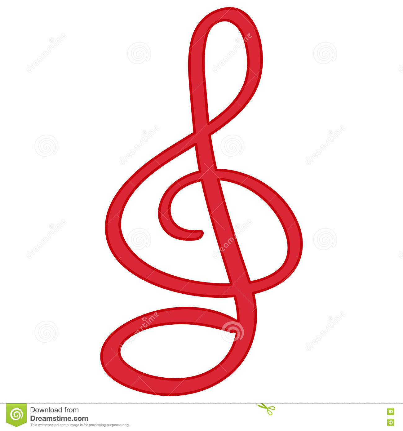 Red Treble Clef Isolated Symbol Stock Illustration Illustration Of