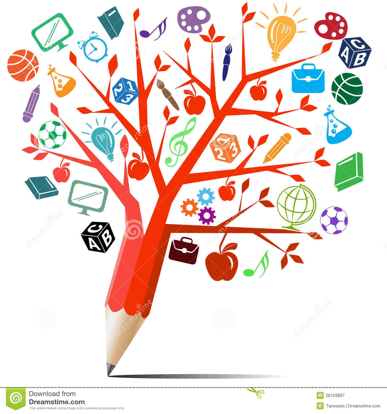 Red Tree Pencil With Symbols Royalty Free Stock
