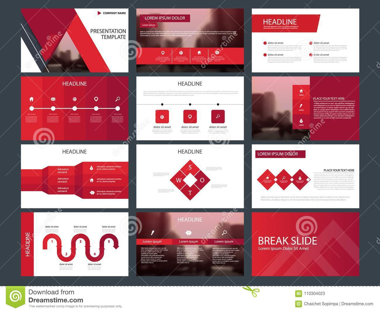 Red triangle Bundle infographic elements presentation template. business annual report, brochure, leaflet, advertising flyer,