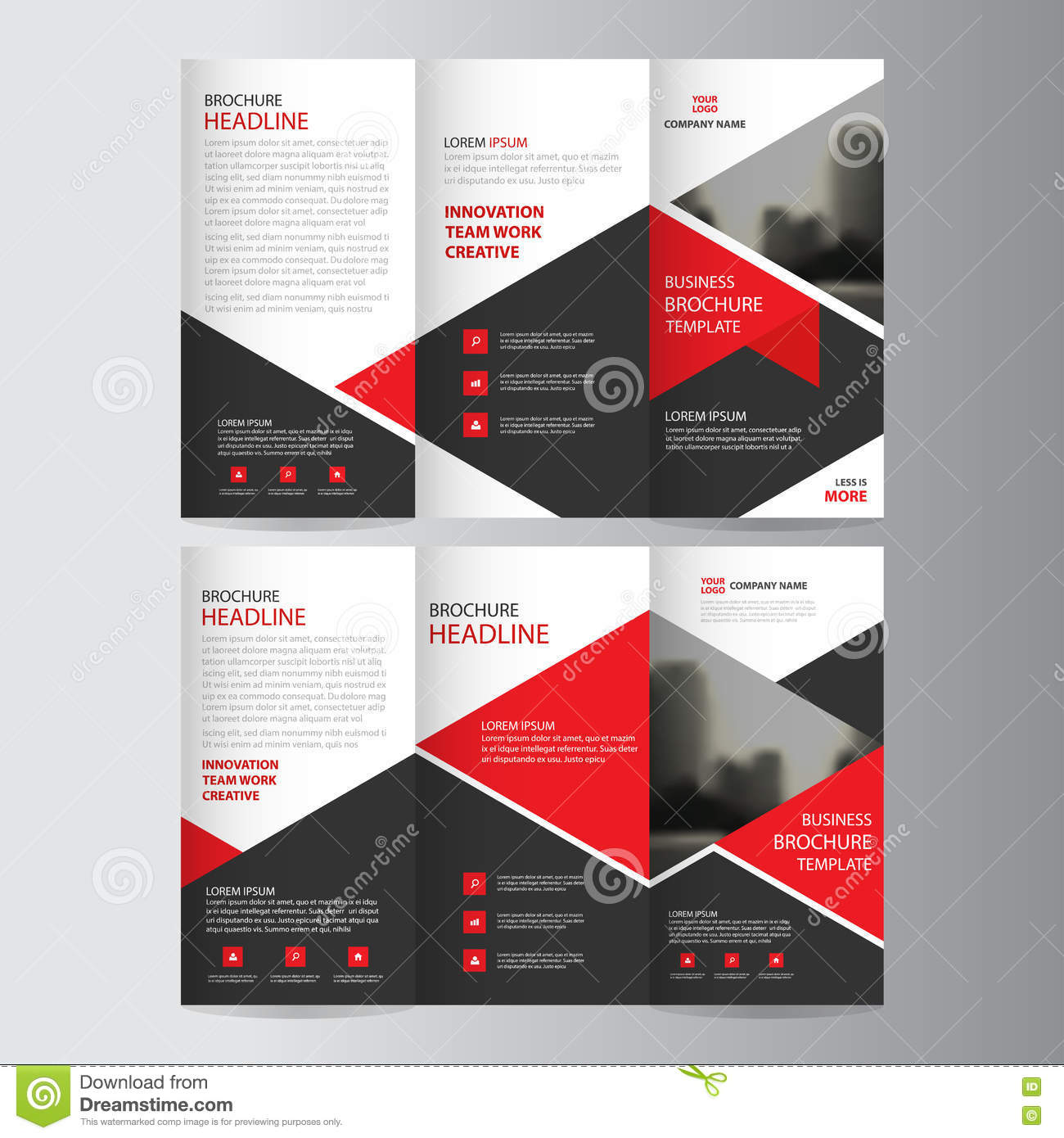 Set of business flyer template brochure cover design for Red brochure template