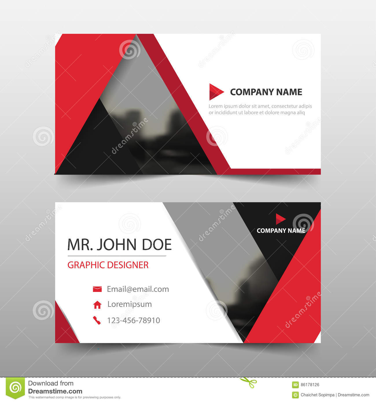 Red triangle corporate business card name card template horizontal red triangle corporate business card name card template horizontal simple clean layout design template fbccfo Gallery