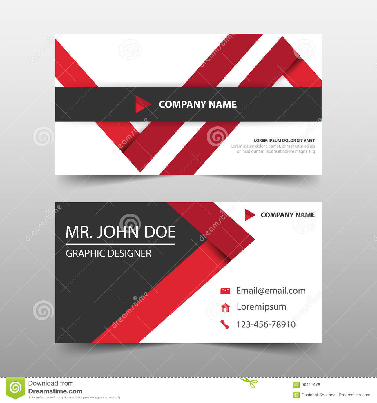 Red triangle corporate business card name card template horizontal download red triangle corporate business card name card template horizontal simple clean layout design reheart Gallery