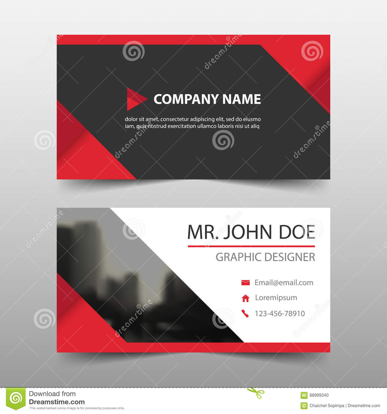 Red triangle corporate business card name card template horizontal download red triangle corporate business card name card template horizontal simple clean layout design fbccfo Choice Image