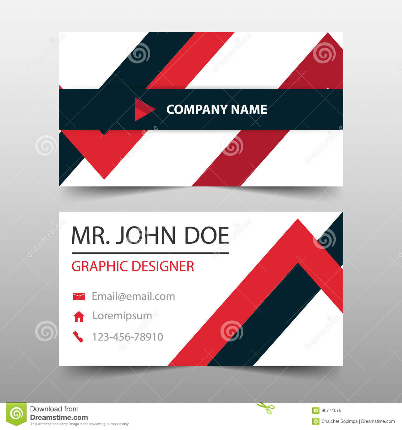Red triangle corporate business card name card template horizontal download red triangle corporate business card name card template horizontal simple clean layout design accmission Image collections