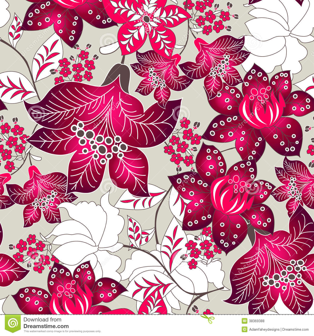 Seamless pattern of tropical red flowers on a light background.