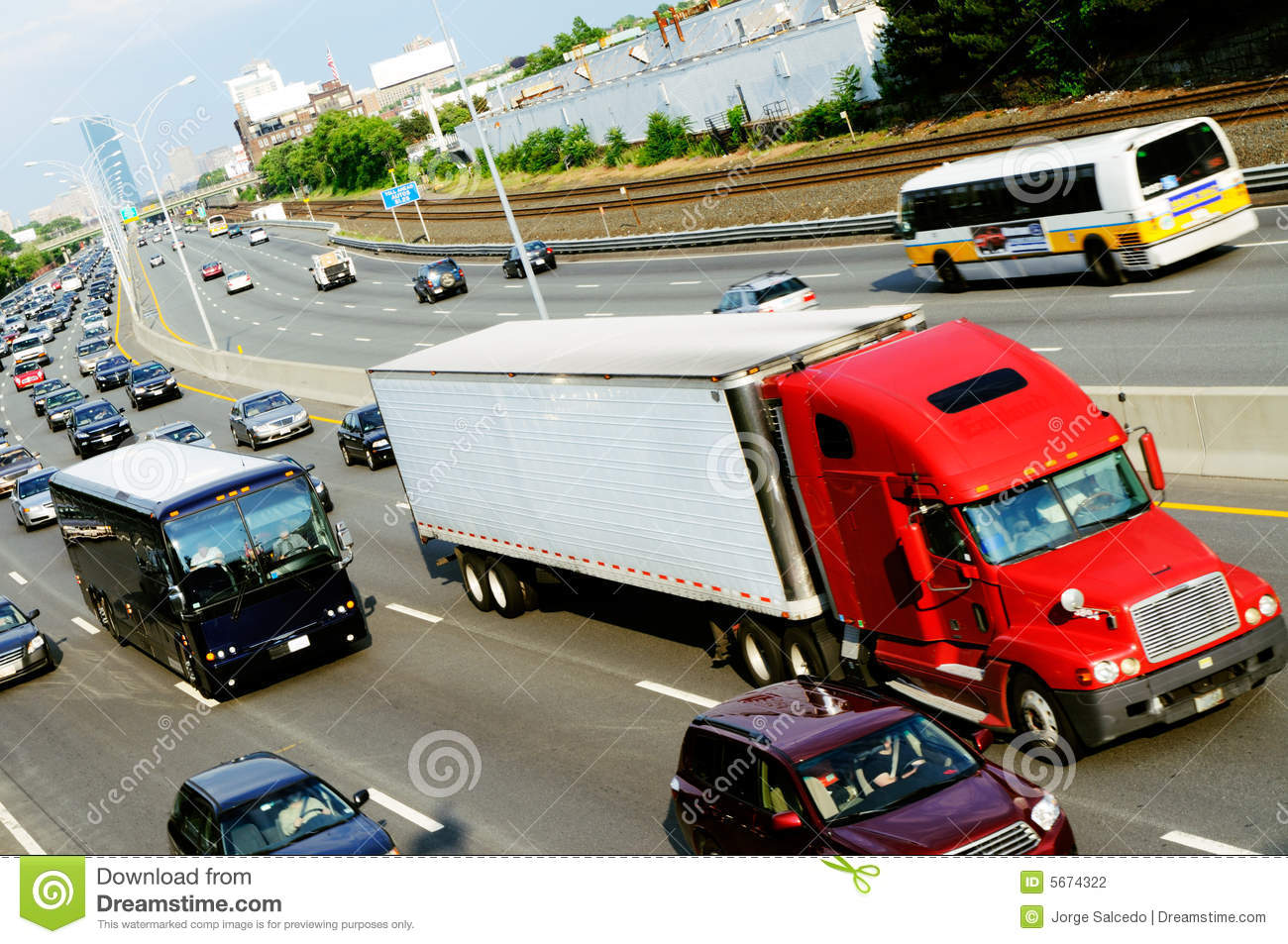 Red truck in the highway