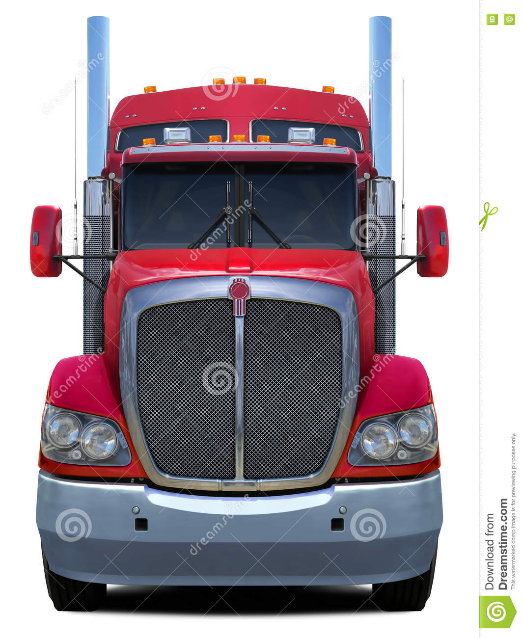 Red Truck Kenworth T660 Front View Stock Photo Image
