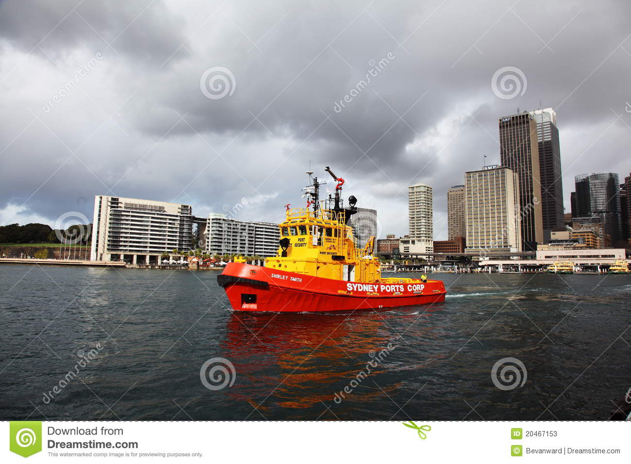 Red Tug Boat In Sydney Harbour Editorial Stock Photo - Image