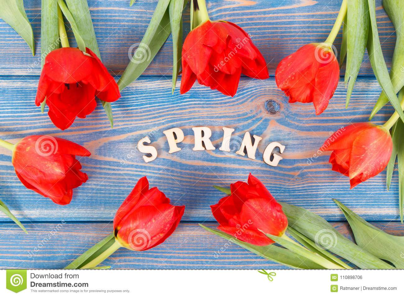 Red Tulips And Inscription Spring On Boards Springtime Decoration