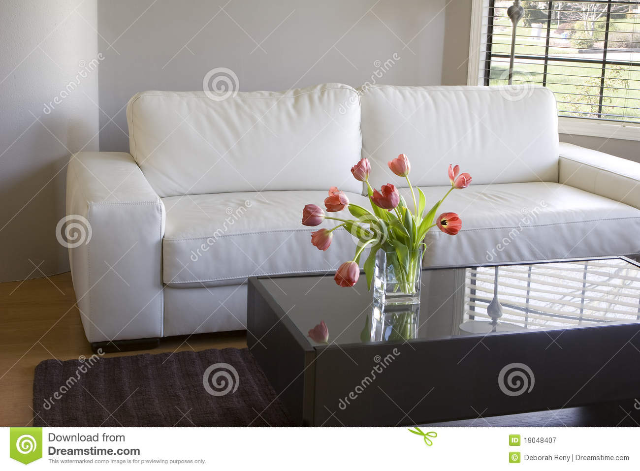 Red Tulips In Modern Living Room Home Decor Stock Image Image 19048407