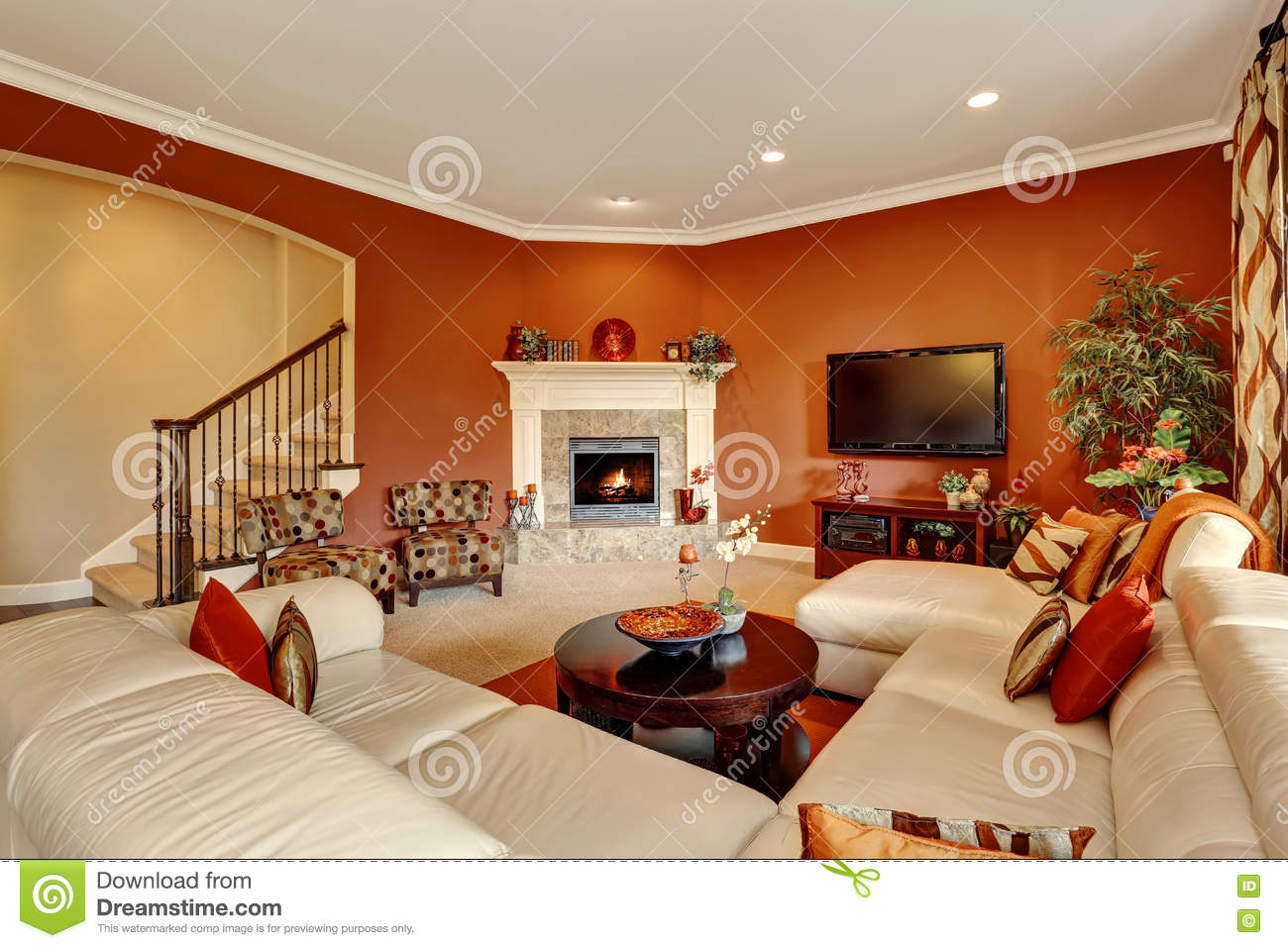 Red Typical American Family Room With Large Sofa Set Stock Photo