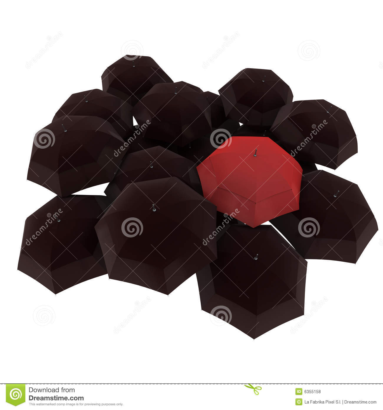 Red Umbrella Among Black Ones Royalty Free Stock Photos