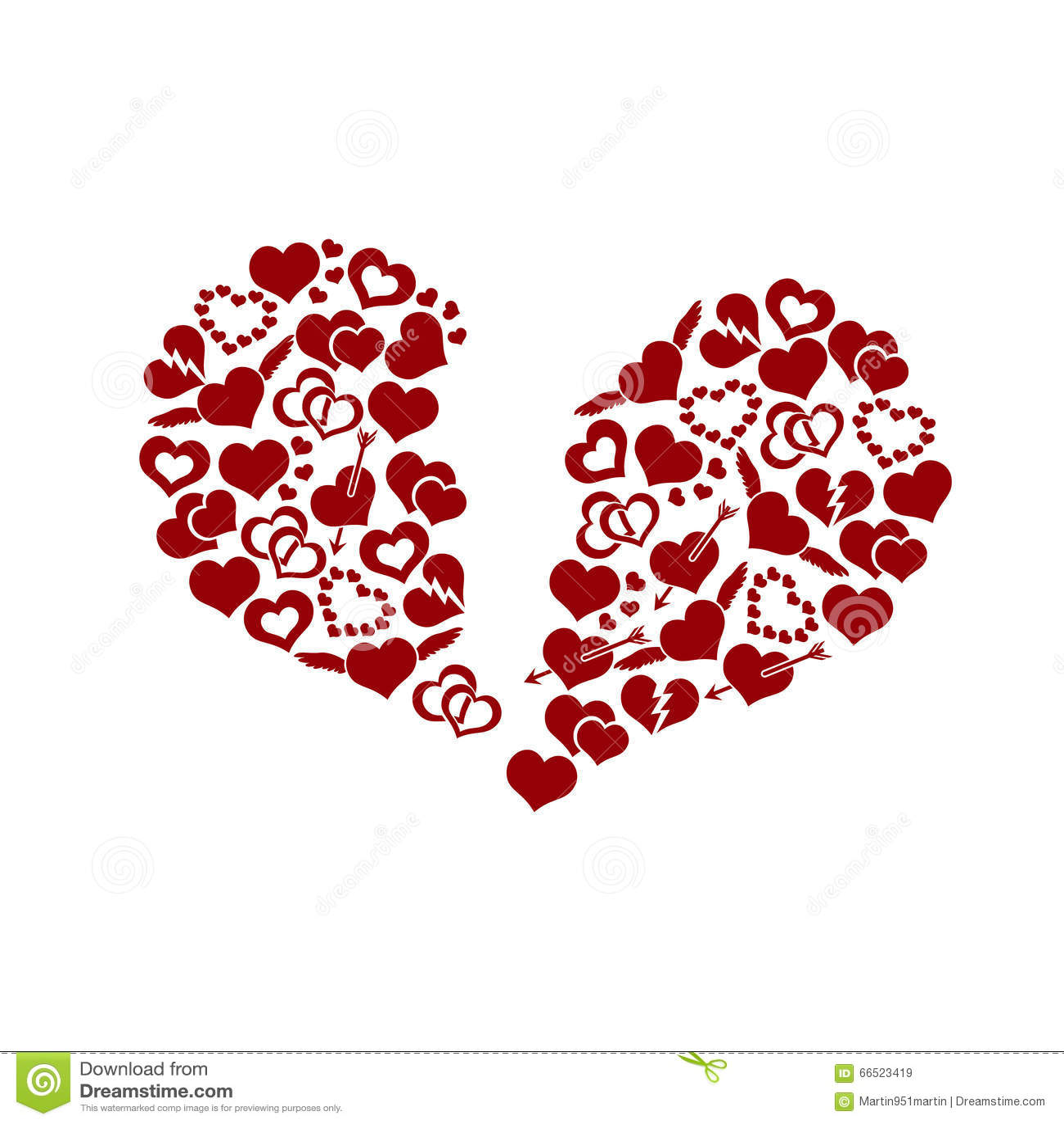 Red valentine broken hearth love symbols in big hearth shape eps10 red valentine broken hearth love symbols in big hearth shape eps10 biocorpaavc Images