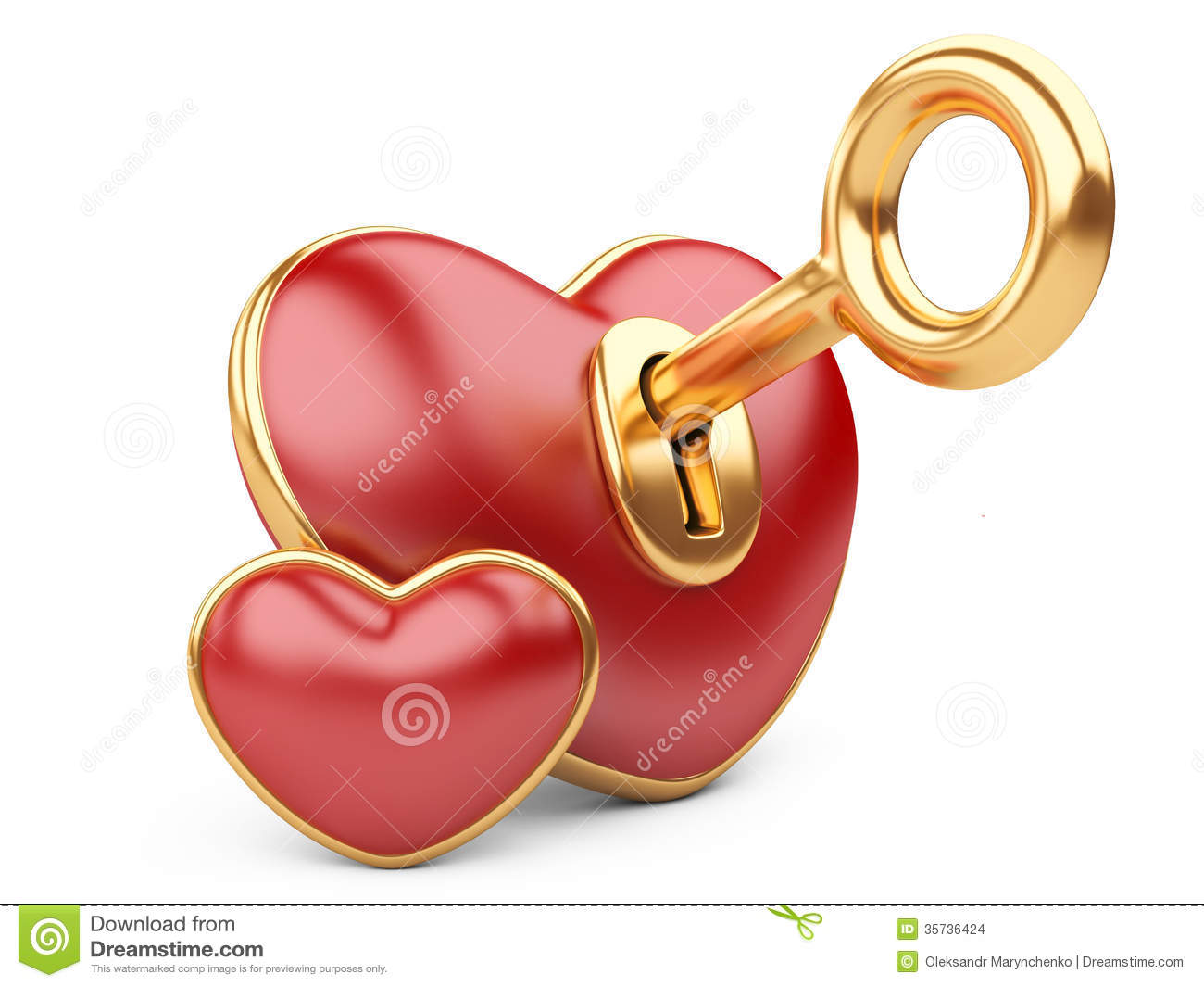 Red Valentine Heart With A Keyhole And Key Stock