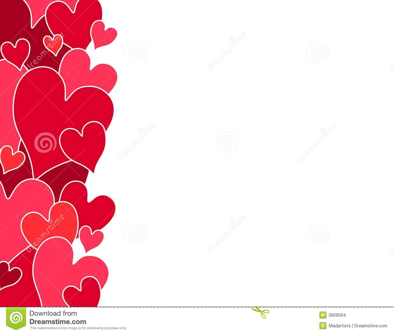 red valentine hearts side border stock images