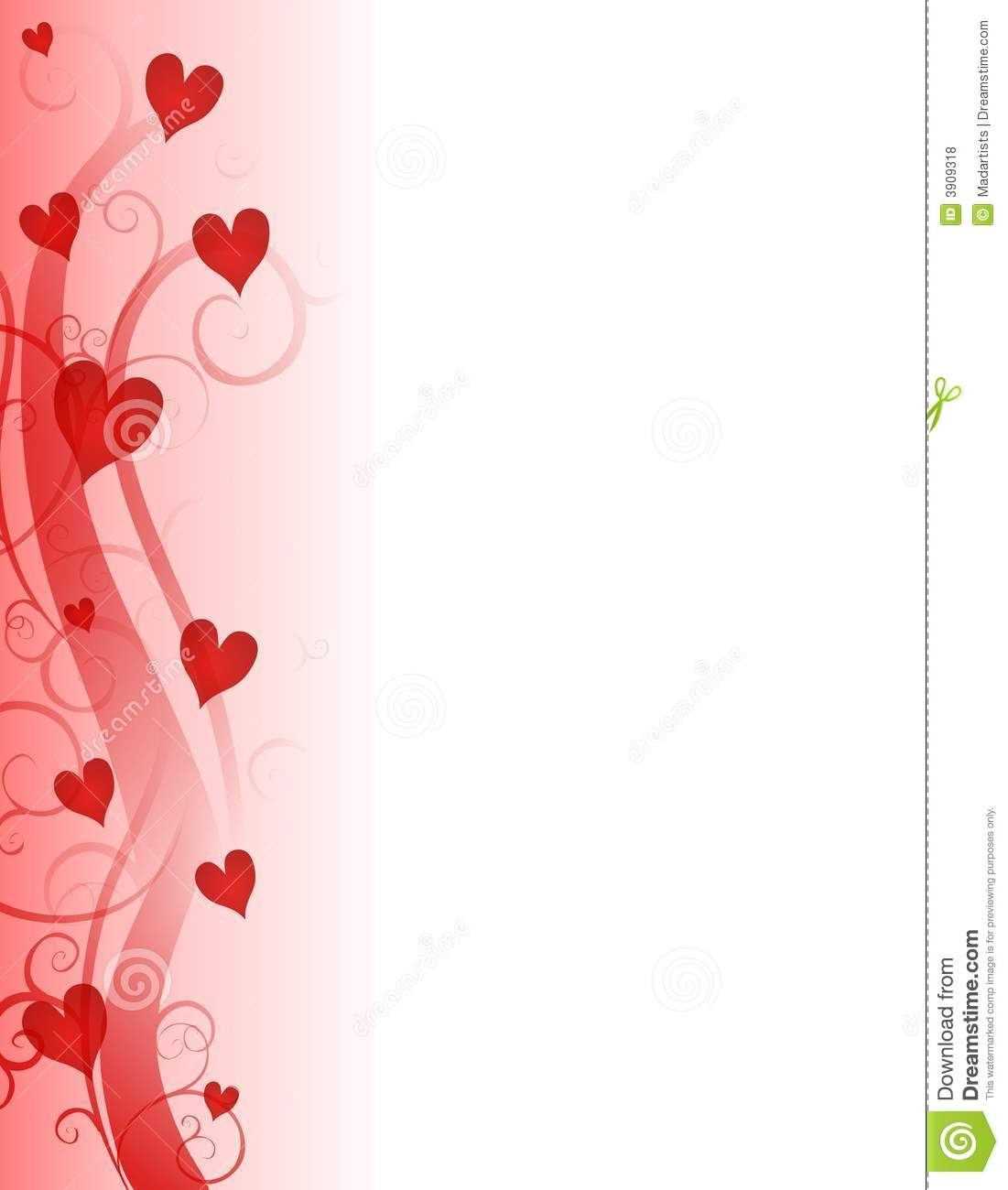 Red Valentines Day Hearts Page Border Royalty Free Stock