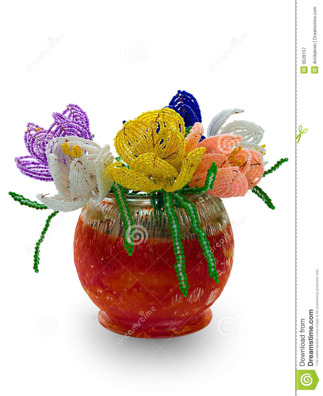 Red vase with flowers from glass beads and wire stock image red vase with flowers from glass beads and wire reviewsmspy