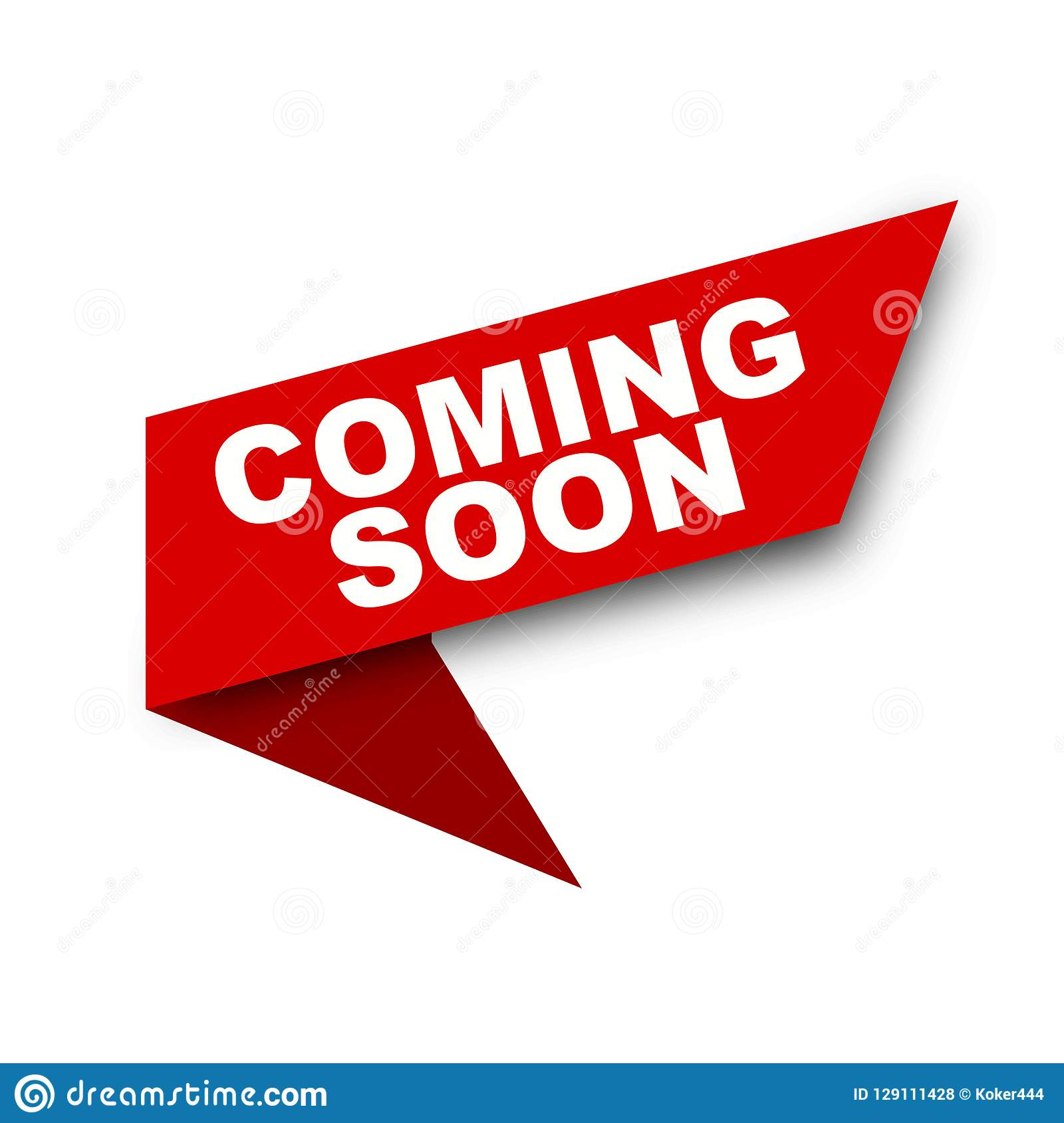 Red Vector Banner Ribbon Coming Soon On White Background Stock Illustration Illustration Of Banner Announcement 129111428