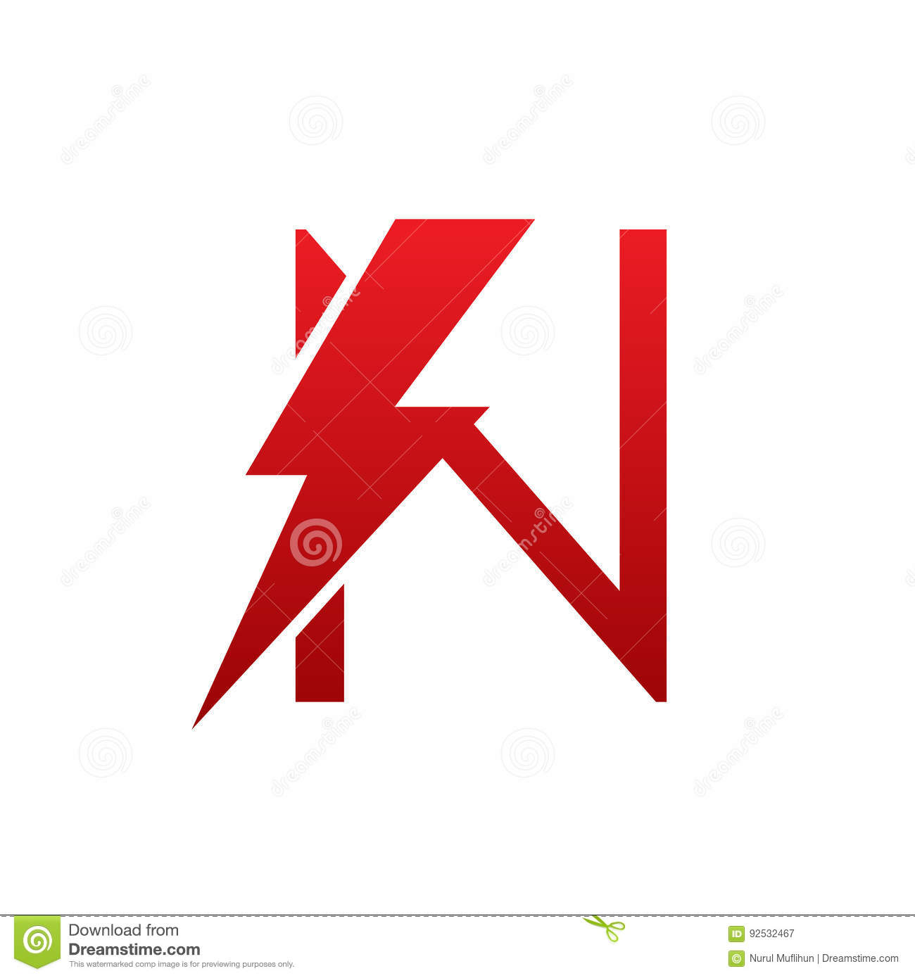 Red Vector Bolt Electric Letter N Logo Stock