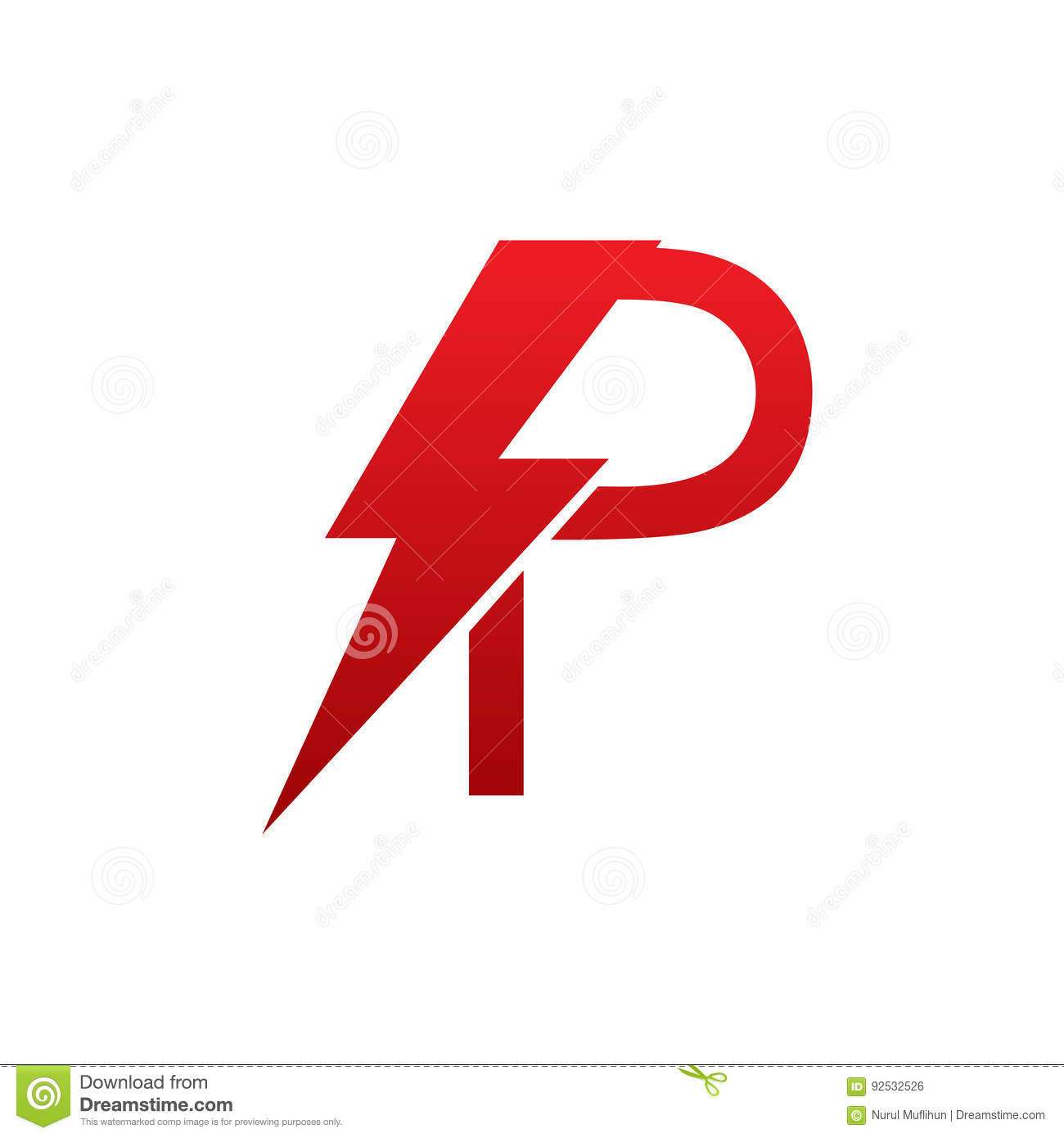Red Vector Bolt Electric Letter P Logo Stock