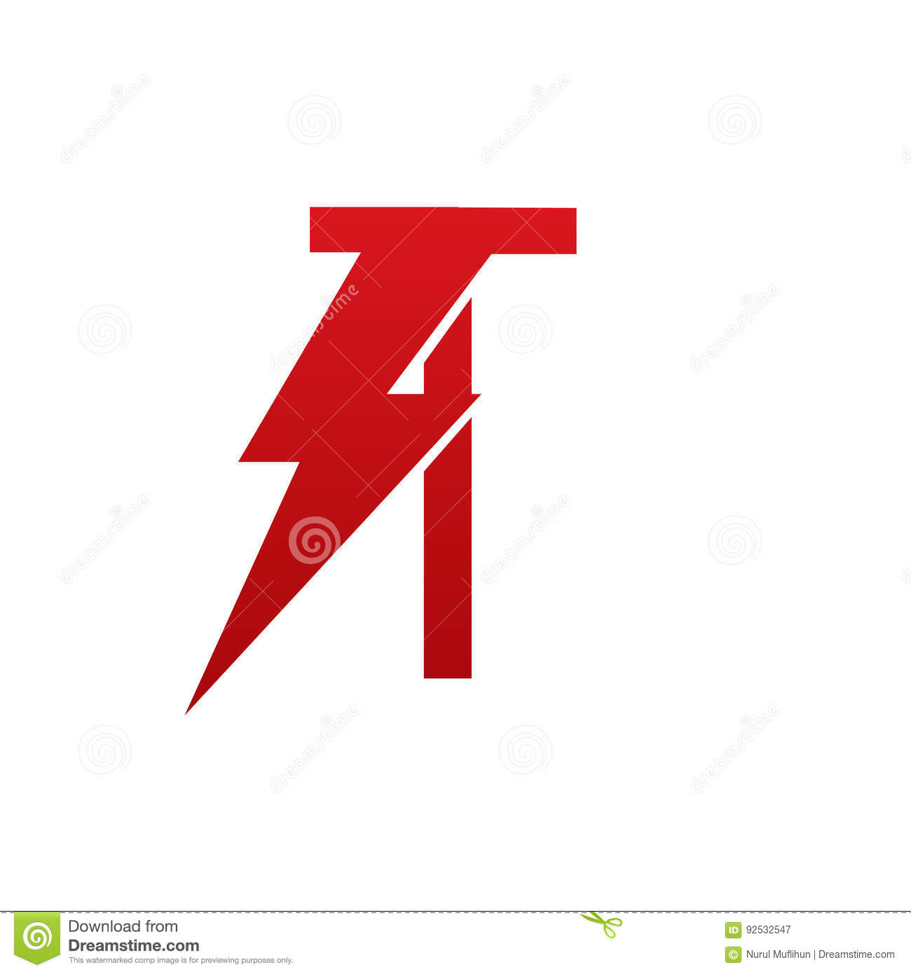 red vector bolt electric letter t logo