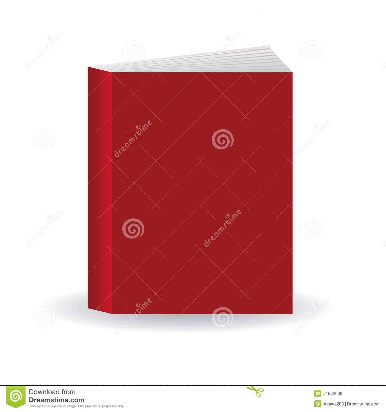 Book Cover Template Eps : Red vector book template with blank cover standing