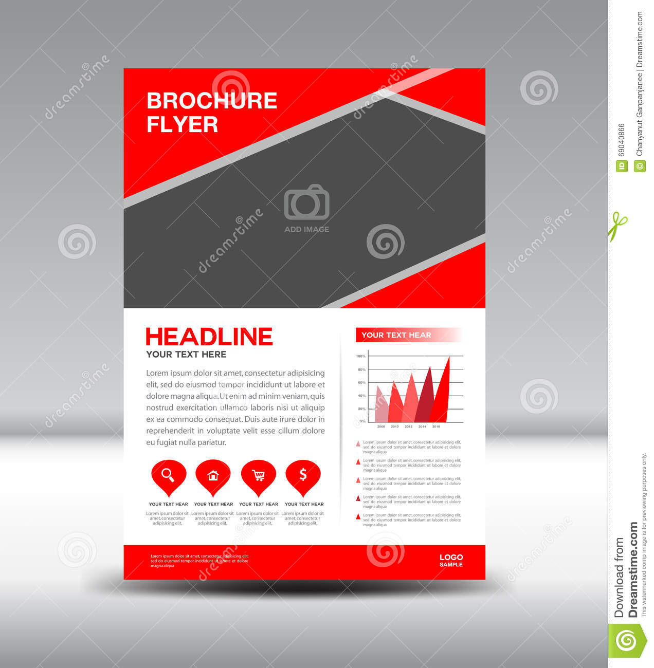 Red vector brochure flyer template stock vector image for Red brochure template