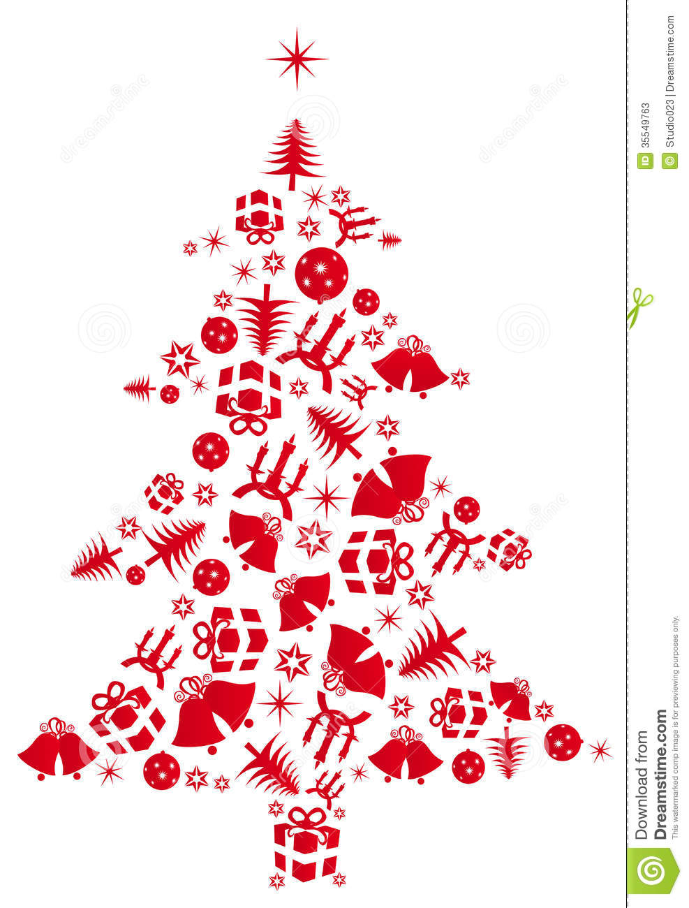 Red Vector Christmas tree stock vector. Illustration of ...
