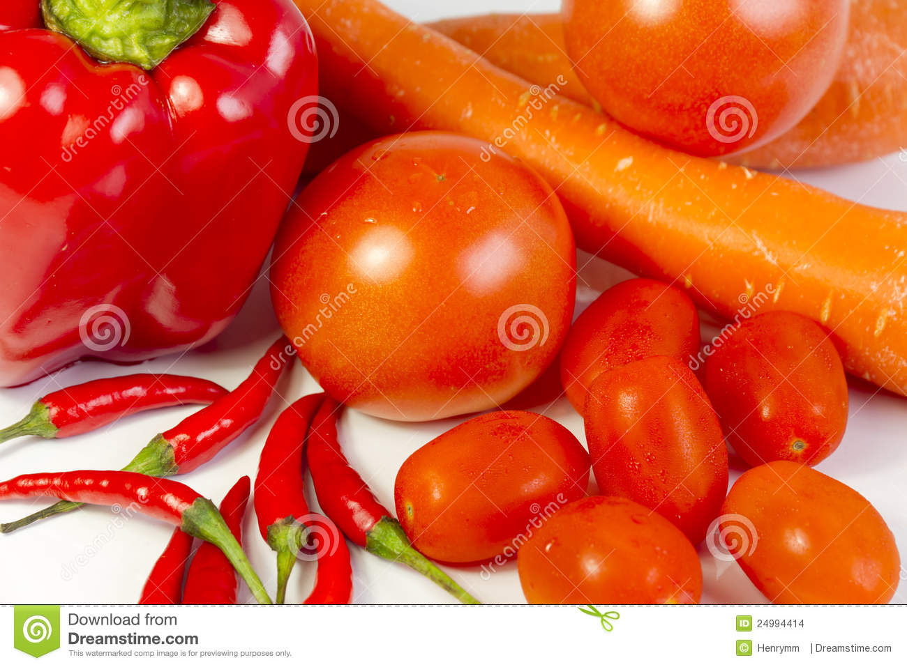 Pepper, carrots, tomatoes, sweet tomatoes and chil