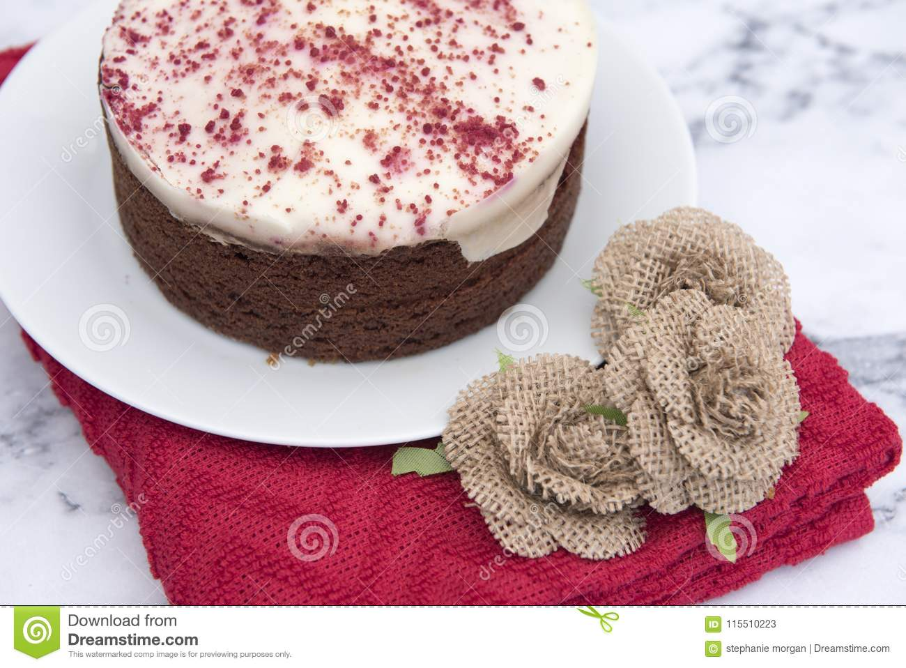 Red velvet cake, with a red cloth