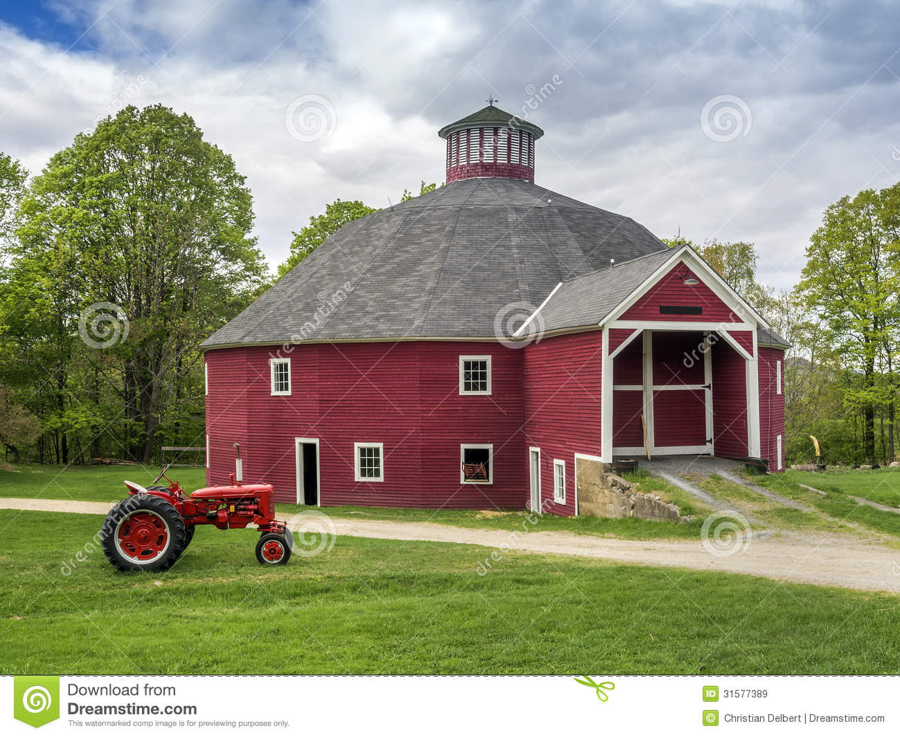 Metal Tractor Barns : Red vermont octagonal barn royalty free stock images