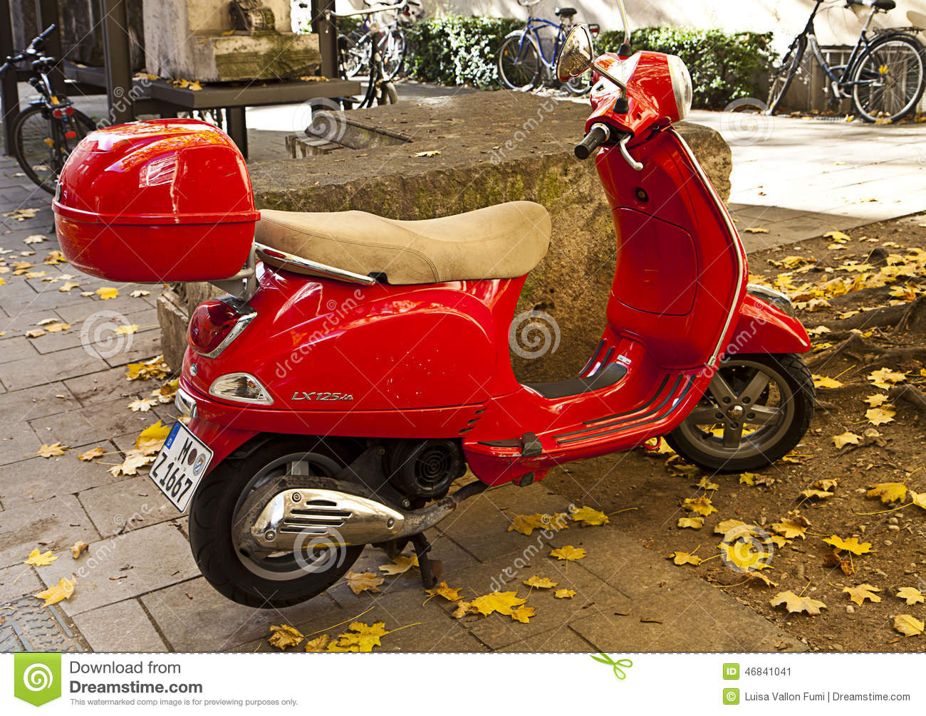 red vespa parked on sidewalk street editorial photo image of
